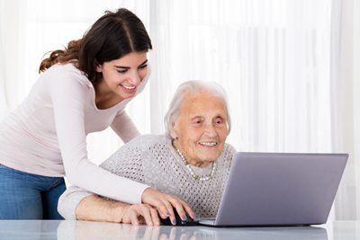two people logging into patient portal